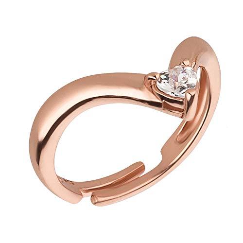 FIVE-D Ring Zehenring Grösse einstellbar Kristall 925 Sterling Silber im Schmucketui (Rosegold)