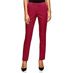 oodji Collection Femme Pantalon en Coton Stretch, Rouge, FR 38 / S