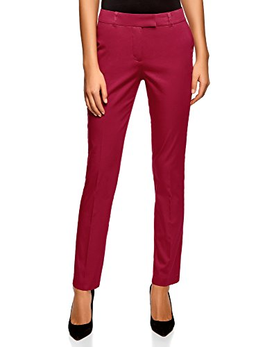 oodji Collection Damen Stretch Hose aus Baumwolle, Rot, DE 42 / EU 44 / XL (Stretch Collection)
