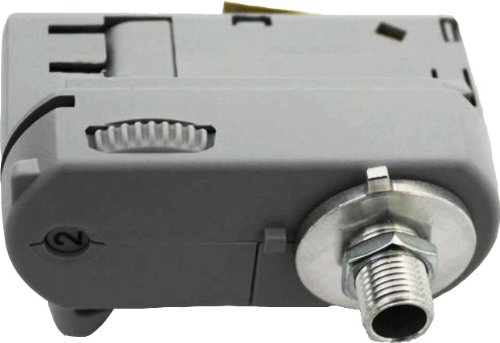 GlobalTrac 3-Phasenstromschiene Ausspeiser Stromabnehmer mit Leuchtenhalter M10 grau silbergrau