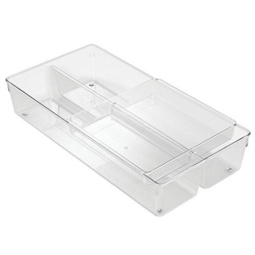 InterDesign Linus 2 Tier Drawer Organizer, Storage for Cutlery, Utensils, Cosmetics, Office Supplies - Clear