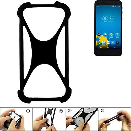 K-S-Trade Bumper Vestel 5000 Dual-SIM Silikon Schutz Hülle Handyhülle Silikoncase Softcase Cover Case Stoßschutz, schwarz (1x)