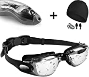 Swim Goggles,[Anti Fog/UV Resistant] Wide Clear Vision Swimming Goggles for adults Men Women,Bright Color Plat