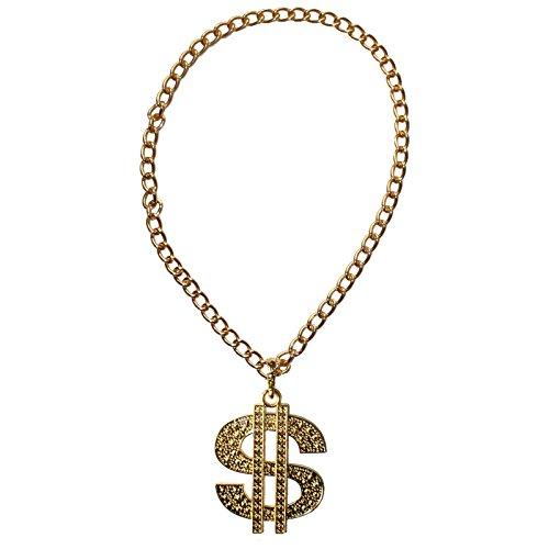 Goldenes Dollar Medaillon mit Kette für Kostüme oder zum (Party Dollar Kostüme)
