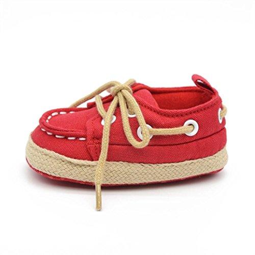 Tonsee Belle Infant bébé Chaussures enfant Garçon Fille douce Sole Sneaker Toddler Rouge