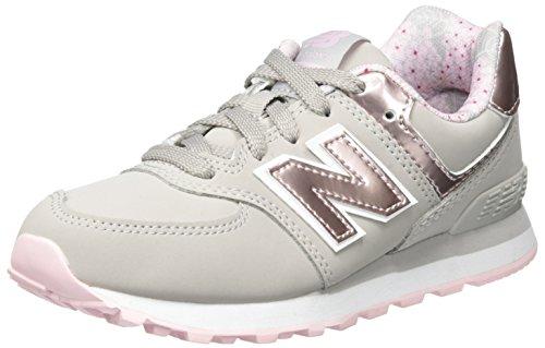 New Balance Unisex-Kinder Sneaker, Grau (Grey/Pink), 28.5 EU (10.5 UK Child) (Balance Mädchen)