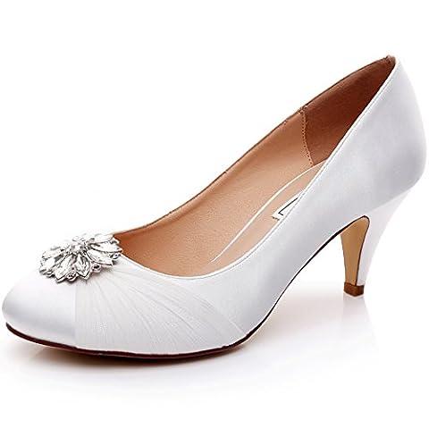 Ivory Wedding Bridal Shoes with Silver Rhinestone Brooch,Medium Heels 2.5 inch RS-9810-EU38