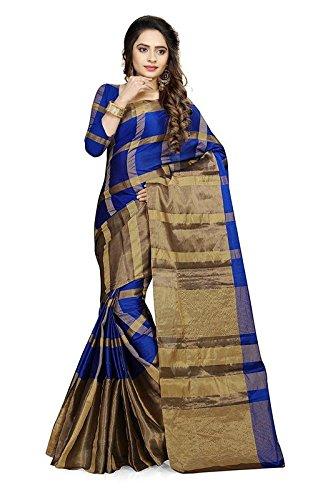 Saree Center Cotton Silk Saree (SC_Aashiqee_RoyalBlue_Blue_Free Size)