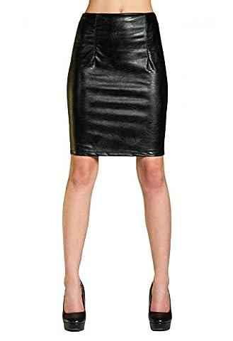 CASPAR Damen Lederrock / Rock in Leder Optik / Stretch - Bleistiftrock - RO009, Farbe:schwarz;Größe:42 XL UK14