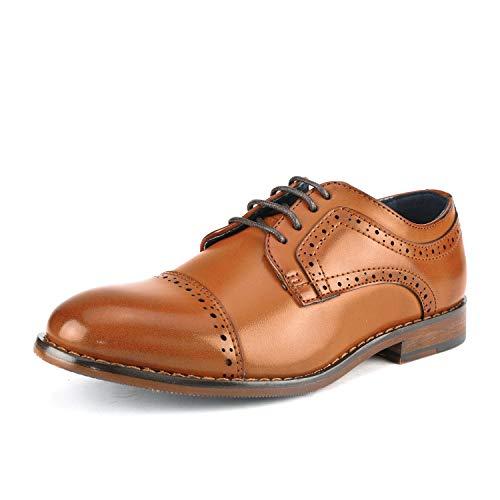 Bruno Marc Prince_K_1 Zapatos de Cordones Vestir Oxfords Clásicos para Niño Marrón 33 EU/2 US Little...