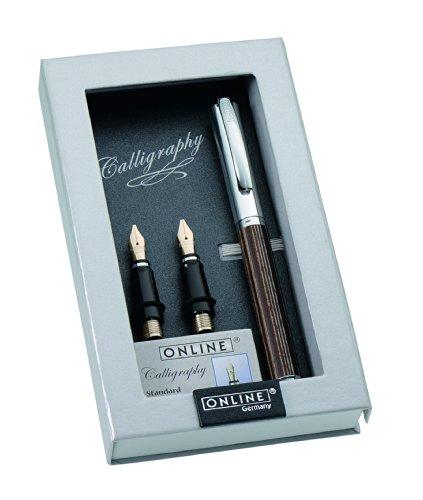 Online Schreibgeräte Design-Füllhalter mit hochwertigen Kalligrafie-Federn Breite 0,8 mm - 1,4 mm - 1,8 mm, edles Holz, Africa Maroon Maroon-design