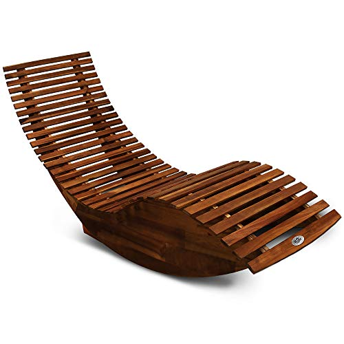 Deuba Schwungliege FSC-zertifiziertes Akazienholz Ergonomisch Wippfunktion Gartenliege Sonnenliege Relaxliege Saunaliege