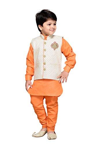 AJ Dezines Kids Kurta Pyjama Waistcoat Set for Boys (661_ORANGE_7)