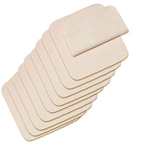 10er Set Bio-Windeleinlagen für Stoffwindeln/Bindewindeln, 40x40 cm - Saugeinlage aus flauschig angerauhtem Molton - 100% Baumwolle (kbA) - auch als Baby-Waschlappen oder Spucktuch verwendbar