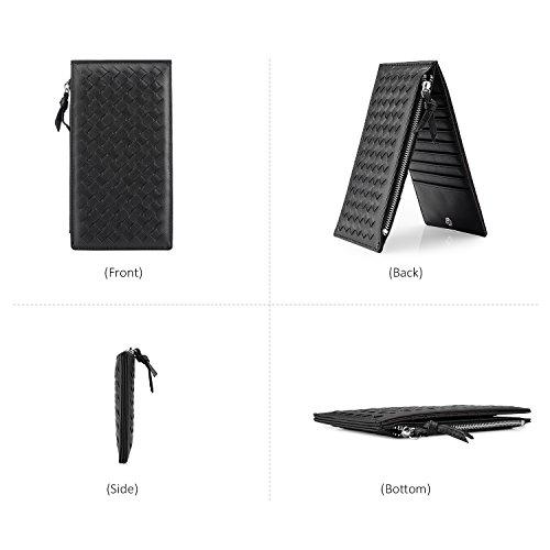 Portafogli per le donne Slim Bifold portafoglio porta carte di credito con chiusura a zip Nero