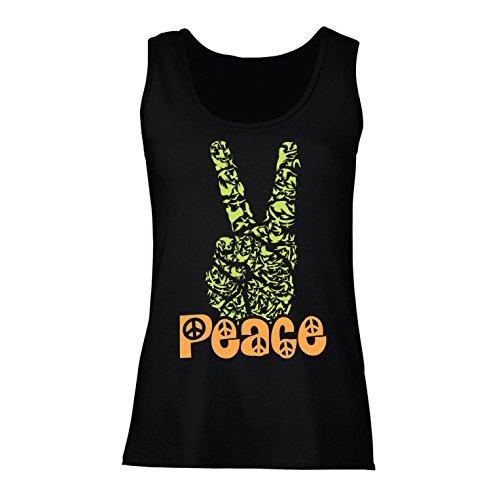 lepni.me Damen Tank-Top Hippie-Friedenstages-Symbol, 60s 70s Hippy-Partei-Zeichen, Swag Hipster (XX-Large Schwarz Mehrfarben)