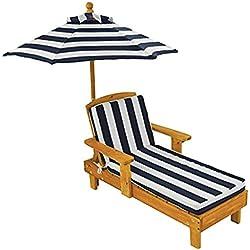 KidKraft 105 Chaise longue en bois avec parasol - Meuble de jardin pour enfant