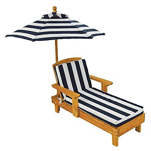 KidKraft 105 Chaise longue en bois avec parasol, meuble de jardin enfant - coloris bleu marine