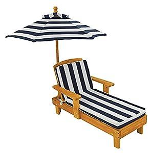 KidKraft- Tumbona de madera con sombrilla, muebles de jardín para niños, Color Azul (105)