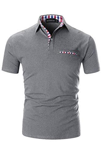 YCUEUST Herren Poloshirts Kurzarm Basic Polohemd Sommer Polo Shirt Grau X-Large - Casual Kurzarm-polo