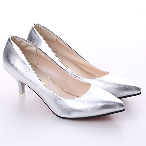 LnLyin Kitten Heel Pointed Toe Slip Loafers Schule Frauen Mode Pumps Hochzeit Schuhe Silber 40Silber 40 (Silber-ferse Schuhe)