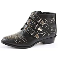 Ladies Retro Shoes Low Heel Biker Booties Mid Winter Ankle Boots Size with shoeFashionista Boutique bag