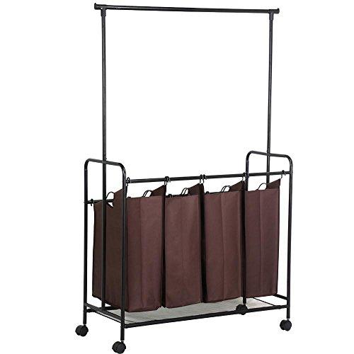 Yaheetech Wäschekorb Wäschesortierer mit Kleiderstange Wäschesammler mit 4 Fächern 108 x 172 x 45 cm (B x H x T)