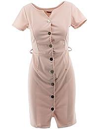 Netgozio Robe femme mini robe avec des boutons gaine à manches courtes  élégant Sexy Adhérente 66fc688672a