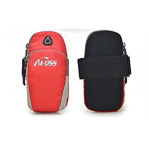 Aeoss Waterproof Nylon Universal Running Riding Sports Arm Pouch and Mobile Phone Arm Band Bag for LG Google Nexus 4 5 5X 6P and for All Mobile Phone Less Than (RED) (Red)