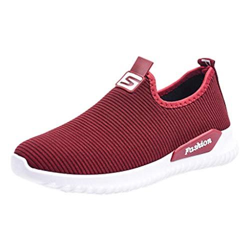 Damen Sportschuhe Laufschuhe Fitness Leicht Rutschfeste Turnschuhe Straßenlaufschuhe Sneaker Freizeit Schuhe mit Snake Optik (EU:40, Rot)