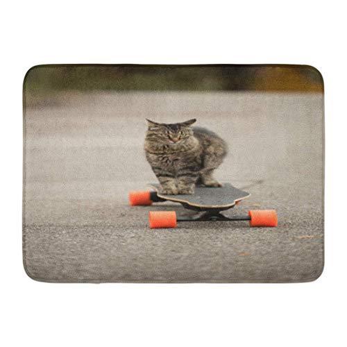 Badematte Coon graue dumme Katze auf elektrischem Skateboard-Brett Maine Bathroom Decor Rug