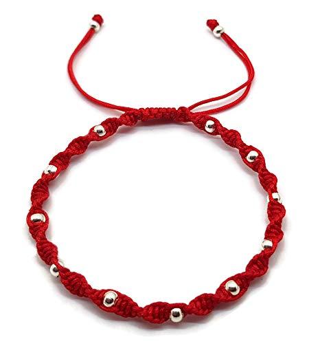 Mystic Jewels - Pulsera Kabbalah de Hilo de Colores con Bolas, Amuleto, protección Mal de Ojo, Buena Suerte, Good Luck (Rojo)