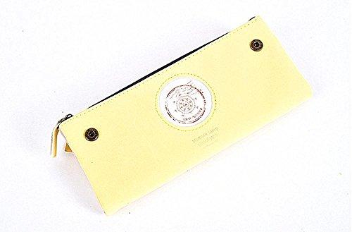 Alta qualità nabuk cuoio cerniera materiale fumetto semplicità portatile multi-purpose studente degli studenti matita caso personalità fresca e bella matita caso , Yellow