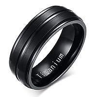 8mm Black Men Ring Titanium for Men Wedding Bands Classic