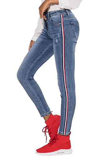 EGOMAXX Damen Jeans Streifen Stretch Hose Skinny Röhrenjeans Pants, Farben:Blau, Größe Damen:34 / XS Carter Jeans