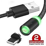 Proze Magnetisches USB Kabel 2 in 1 Multi USB Ladekabel mit USB-C Micro USB Schnellladekabel 1M Sync Datenkabel Nylon für Datenübertragung und QC 3.0 Aufladung bis zu 18W 3A (Schwarz)
