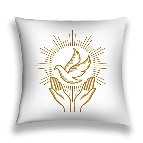 baishengjidianshebei Kissenbezüge Throw Pillow Cover Pillowcase Church Logo Christian Symbols Praying Hands Dove Symbol holy Spirit Dreamy Sofa Home Decorative Cushion Case 18