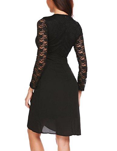 Damen Kleider Spitze Abendkleid Cocktailkleid Patchwork Langarm ...