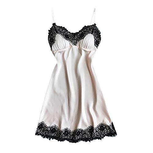 B-commerce Gratëe Përditshme Camis veshje gjumi përshtatur-rripa Sleeveless Strap ndërresë nate Lace Trim Satin Pajama vë gjumi Dresses ()
