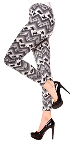 Easy Young Fashion Strick Leggings Norweger Muster Weiß