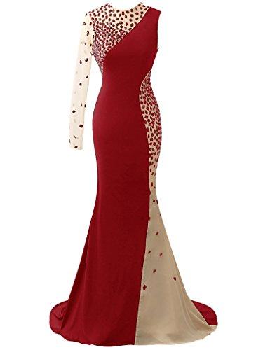 HUINI Elegant Meerjungfrau Abendkleider Lange Kristall Eine Schulter Ballkleid Sexy Hochzeitskleid Rot