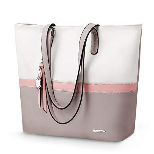 Tote Womens Große Handtasche (Pomelo Best Damen Handtasche Mehrfarbig gestreift Umhängetasche Tote-Tasche (Grau))