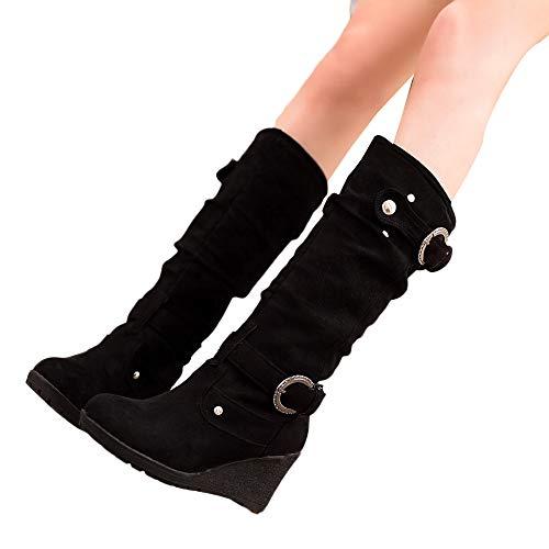 JUTOO Frauen Winter Flache Schuhe Runde Zehe verdichten Wedges Damen Lange Tube Schwarz Stiefel(Schwarz,38 EU)