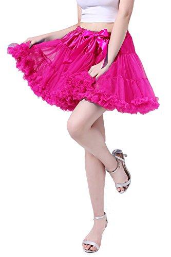 Flamingo Kostüm Selbstgemacht Halloween (Poplarboy Damen Kurz Tüll Vintage Petticoat Reifrock Mehrfarbengroß Unterröcke Braut Crinoline Ballett Blase Tutu Ball Kleid Underskirt L-XL)