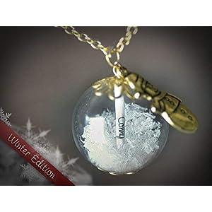 XXL Namenskette Gold Glück Kette Geschenk Schneekugel