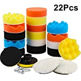 Nakeey 22 Pcs 3 Pouces Éponge de Polissage,Kit de Polissage,Kit de Polissage Auto 100mmTapis de Polissage/Éponge/ Laine De Polissage Cirage M10 Drill Adapter