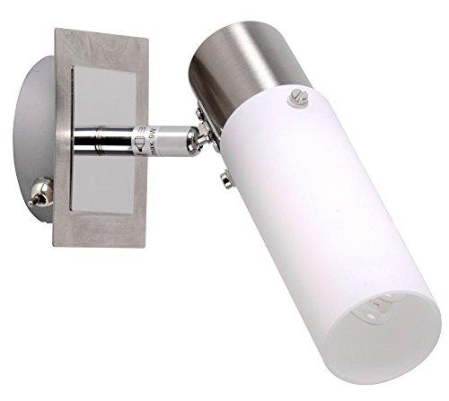 Wand Lampe Wohn Raum Beleuchtung silber Spot Strahler beweglich Lampe Glas opal