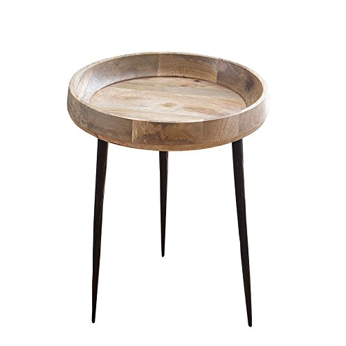 Invicta Interior Eleganter Beistelltisch Pure Nature 36cm aus Mangoholz Holztisch Nachttisch Tisch Massivholz