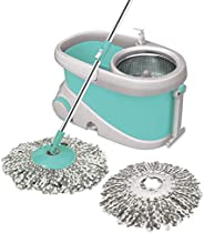 Spotzero by Milton Prime Mop with Big Wheels and Stainless Steel Wringer (Aqua green, 2 refills)