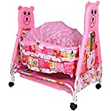 Child Craft Swing Crib And Stroller With Wheel With Mosquito Net And Storage Space - Pink (J11)